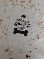 My Siblings Have Paws Personalised Baby Vest